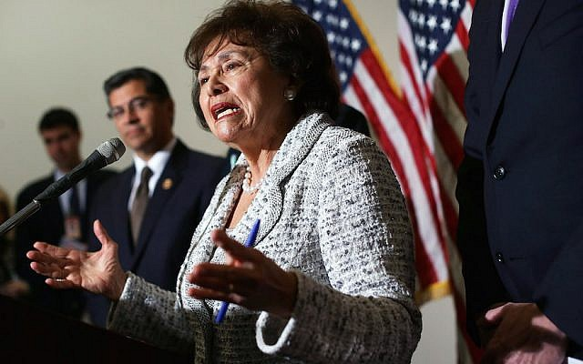 Rep. Nita Lowey speaks after a House Democratic Caucus meeting on Capitol Hill, Jan. 15, 2013. The New York Jewish Democrat is among the lawmakers pushing a bill for the U.S. to invest in Palestinian enterprises. (Alex Wong/Getty Images)