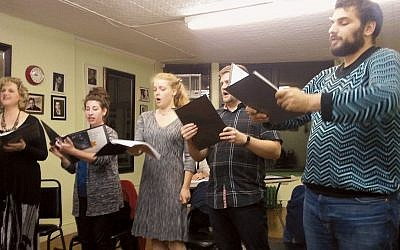 "From left, Ginger Inabinet, Sarah Baumgarten, Aimee-Rose Willett, Stephen Steffens, and William Hurwitz rehearse ""The Yellow Star."" (Bradley Detrick)"