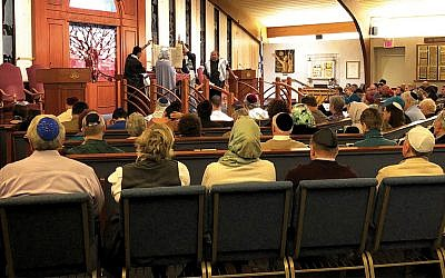 The service at Congregation B'nai Israel in Emerson drew from across the faith spectrum.