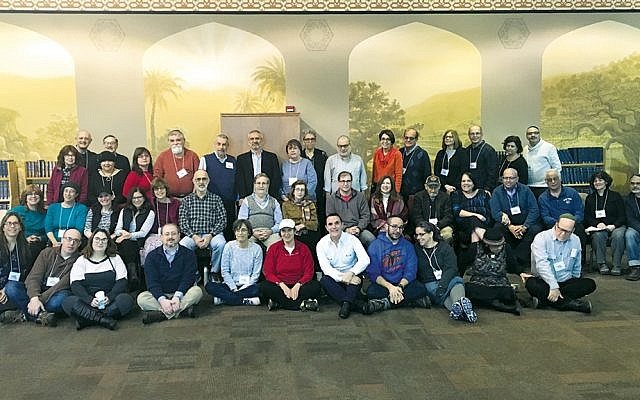 About half of the parents at the Eshel retreat fit into this group photograph.