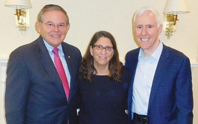 Senator Robert Menendez (D-N.J.) left, with Esther and Mort Fridman (Courtesy Norpac)
