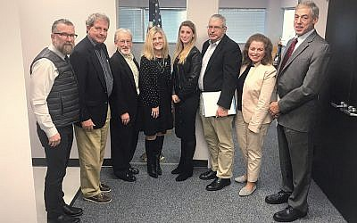 From left, David Silverman, Ron Rosensweig, Stan Goodman, State Senator Kristen Corrado, JCRC director Ariella Noveck, JCRC chair Bruce Brafman, Martha Cohen, and Larry Silverman. (Courtesy JFNNJ)