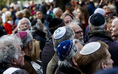 Participants wearing kippahs at a rally in Berlin, April 25, 2018. (Carsten Koall/Getty Images)