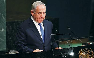 Israel's Prime Minister Benjamin Netanyahu speaks at the U.N. General Assembly in New York on September 19, 2017. (Spencer Platt/Getty Images)