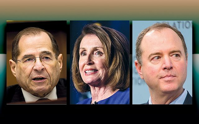 From left, Jerrold Nadler speaks at a House Judiciary subcommittee hearing on Capitol Hill, Feb. 27, 2018. (Drew Angerer/Getty Images) Nancy Pelosi speaks at a Democratic Congressional Campaign Committee election watch party at the Hyatt Regency in Washington, D.C., Nov. 6, 2018. (Zach Gibson/Getty Images) Adam Schiff speaks at the Council On Foreign Relations with Andrea Mitchell of NBC News in Washington, D.C., Feb. 16, 2018. (Tasos Katopodis/Getty Images)