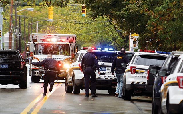 Police respond to the site of the shooting at the Tree of Life Synagogue in Pittsburgh, Oct. 27. (Jeff Swensen/Getty Images)