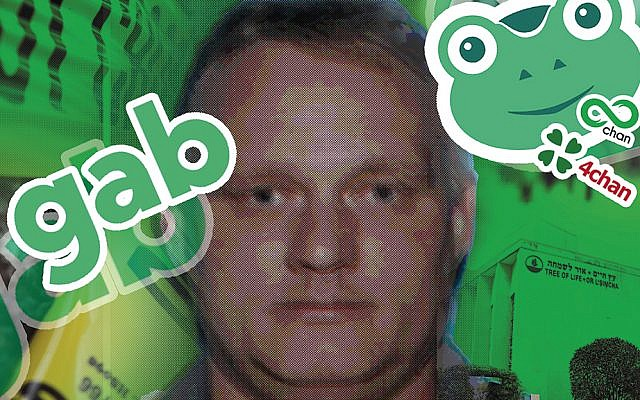 Robert Bowers used the social media site Gab, one of a number of havens for the far right, to vent his hatred of Jews and immigrants. (AFP/Getty Images/JTA Collage)