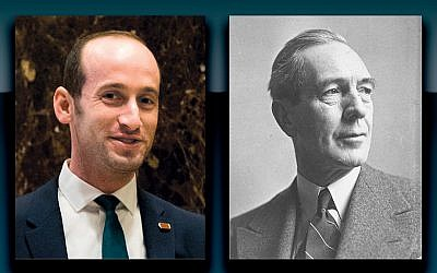 Left, Stephen Miller in 2016 (Drew Angerer/Getty Images) and Breckinridge Long in 1934 (Library of Congress).