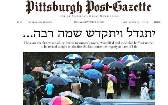 Pittsburgh Post-Gazette's cover on Nov. 2, 2018. (Post-Gazette)