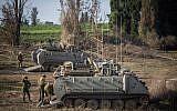 Israeli forces gather near the border with Gaza in southern Israel, Nov. 13, 2018. (Hadas Parush/Flash90)