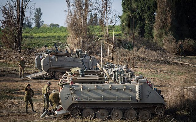 Israeli forces gather near the border with Gaza in southern Israel, Nov. 13, 2018. (Hadas Parush/Flash90)