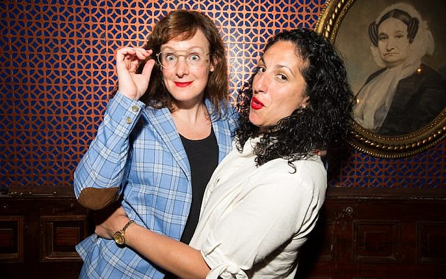 Jess Salomon, left, and Eman El-Husseini, are seen at an Upright Citizens Brigade show in New York City. (Jenni Walkowiak)