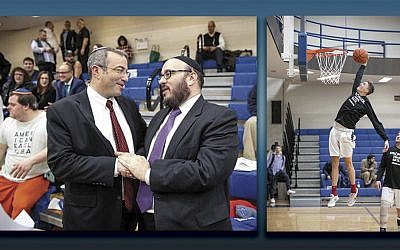 Left, YU's president, Dr. Ari Berman, left, and Rabbi Daniel Yolkut of Congregation Poale Zedeck in Pittsburgh. YU players warm up before the game honoring victims of the Pittsburgh synagogue shootings. (Photos courtesy YU)