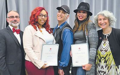 From left, John Winer, executive director of the Jewish Association for Developmental Disabilities, Kadolia Dolson, David Jacobs, Yenis Mercedes, and Jocelyn Gilman, executive director of the American Red Cross of Northern New Jersey. (Courtesy American Red Cross)