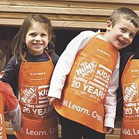 Dozens of children and parents enjoyed a menorah-building workshop at Home Depot in Paramus coordinated by the Friendship Circle and Chabad of Paramus. (Courtesy Chabad)