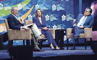 Israeli-American entertainment mogul Haim Saban interviews Sen. Chuck Schumer and Rep. Nancy Pelosi. (Israeli-American Council)