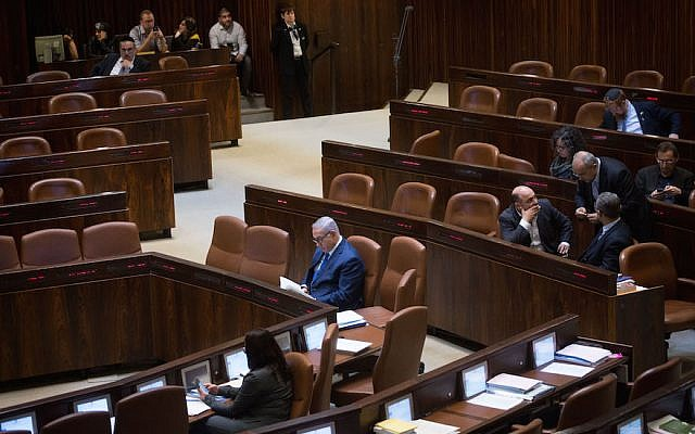 Israeli prime minister Benjamin Netanyahu seen during a plenum session in the Israeli parliament on March 12, 2018. Photo by Miriam Alster/FLASH90
