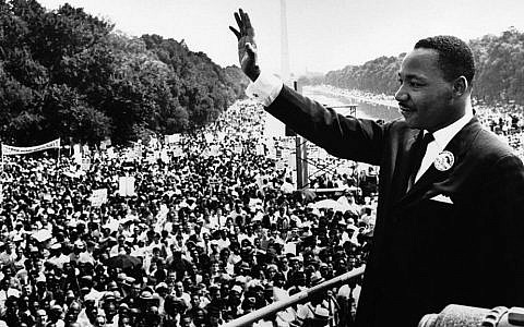 "Martin Luther King Jr. gives his ""I Have a Dream"" speech from the steps of the Lincoln Memorial during the August 28, 1963, march on Washington."