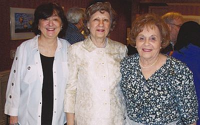 "From left, Berthe Nathanson as Barbra Streisand, Arlene Rifkin as Jackie Kennedy, and Hannah Price as Molly Goldberg in their show, ""The New View."""