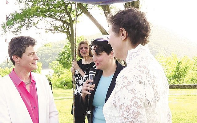 Chani Getter in action — clockwise from top, presiding at a wedding. (Courtesy Chani Getter)
