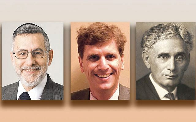 Rabbi Menachem Genack, left, Matt Stoller, and Louis Brandeis