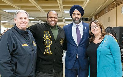 Among the dignitaries were, from left, James J. Tedesco, Bergen County Executive; Brian Agnew, Bergen Community College Executive Vice-President; Gurbir Grewal, NJ Attorney General; and Gurbir Grewal, and Tracy Silna Zur, Bergen County Freeholder/event founder. (Photos by David Wreski)