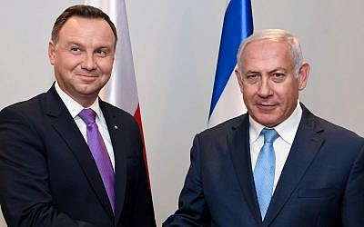 Israeli Prime Minister Benjamin Netanyahu, right, meets with Polish president Andrzej Duda at the United Nations headquarters in New York City, Sept. 26, 2018. (Avi Ohayon/GPO)