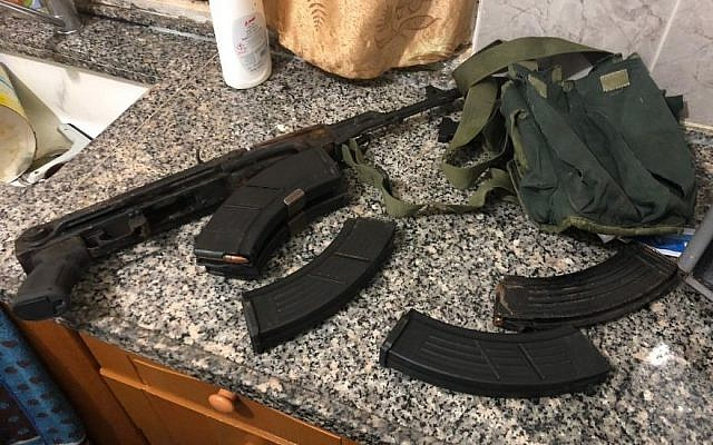 A Kalashnikov assault rifle, ammunition and night-vision equipment to be used in a future attack on Israelis were found during the arrest of Asem Barghouti in the West Bank on Jan. 8, 2019. (Courtesy ISA)