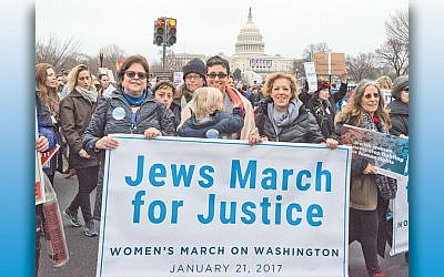 It was different last year.  From left, Nancy Kaufman, CEO of the National Council of Jewish Women; Rabbi Tamara Cohen, chief of innovation at Moving Traditions, and Debbie Hoffmann, NCJW's board president, at the National Mall for the Women's March on Washington on January 21, 2017. (Ron Sachs)