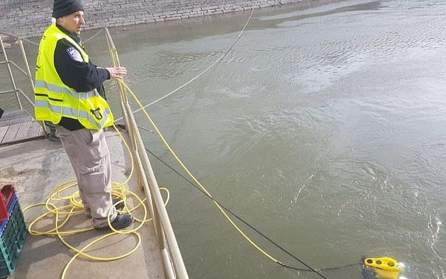 The ZAKA Divers Unit uses a special sonar device and integrated underwater camera to try to locate Holocaust victims' bones from the Danube River in Budapest, Hungary on Jan. 15, 2019. (Courtesy/ZAKA)