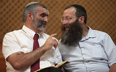 Otzma Yehudit party leaders Michael Ben-Ari, left, and Baruch Marzel, in 2012. (Yoav Ari Dudkevitch/Flash90)