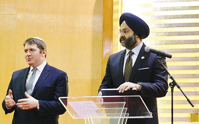 Rabbi Daniel Fridman and New Jersey  Attorney General Gurbir Grewal (Michael Laves)