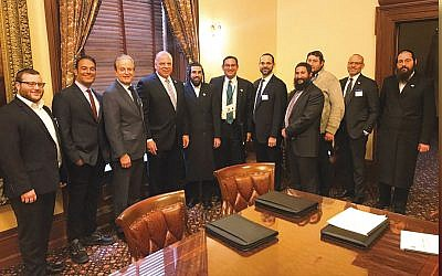 From left, Chesky Weinberger, HR manager at Fabuwood; Eric Margules, president/CEO of Margules Properties; Jack Halpern, partner at Atlantic Realty; state Senate President Steve Sweeney; David Rosenberg, NJJBA's executive director; Ted Zangari, real estate chair at Sills Cummis & Gross; Simcha Jacobowitz, director of business development at B&H; Rabbi Avi Richler; Sruli Richler, CEO of the Surplus Company; Avi Kelin, associate attorney at Genova Burns, and Moshe Schwartz, president of Schwartz Realty.