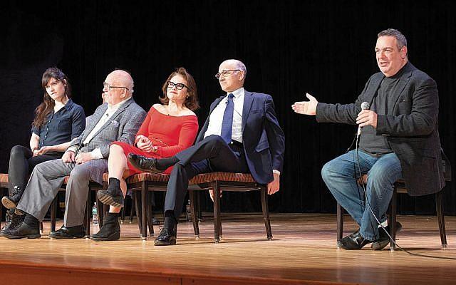 Liba Vaynberg, Ed Asner, Tovah Feldshuh, and Ned Eisenberg with playwright Jeff Cohen at audience talkbackPhotos (Courtesy JCCOTP)