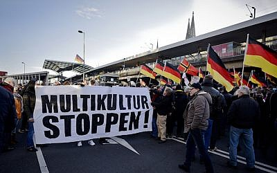 Right-wing populist groups gathering to protest in Cologne, Germany, Jan. 9, 2016. (Sascha Schuermann/Getty Images)