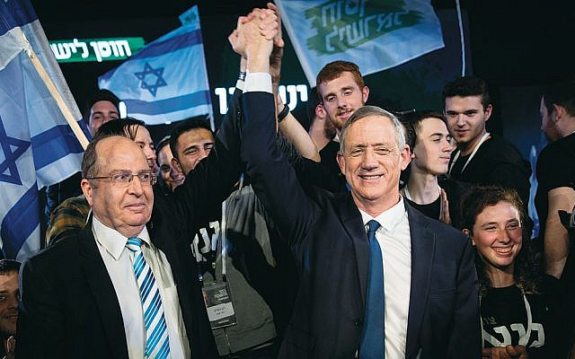 Benny Gantz, right, with Moshe Yaalon at the opening campaign of the Israel Resilience Party in Tel Aviv, January 29, 2019. (Hadas Parush/Flash90)