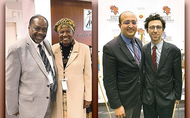 Rabbi Capers Funnye, left, and Martha Leah Williams, and organizers El Mehdi Boudra, left, and Jason Guberman are at the Jewish Africa Conference in New York on January 29, 2019.  (Josefin Dolsten)