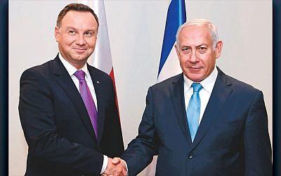 Israeli Prime Minister Benjamin Netanyahu meets with Polish president Andrzej Duda at the United Nations on September 26, 2018. (Avi Ohayon/GPO)