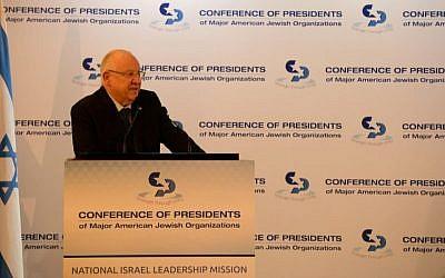 Israeli President Reuven Rivlin addresses teh Conference of Presidents Israel Leadership Mission II in Jerusalem on Feb. 18, 2019. (Haim Zach/GPO)
