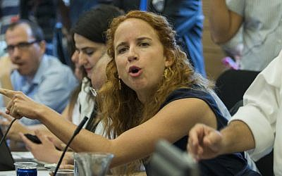 Stav Shaffir during a meeting of the Knesseet Finance Committee in Jerusalem, Sept. 3, 2014. (Noam Revkin Fenton/Flash90)