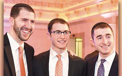 From left, Rabbis Zev, Daniel, and Noah Goldberg. (Courtesy of YU)
