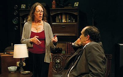 """Playwright Deb Margolin of Montvale with actor Jeremiah Kissel, who plays Bernie Madoff in """"Imagining Madoff."""" (Jody Christopherson)"""