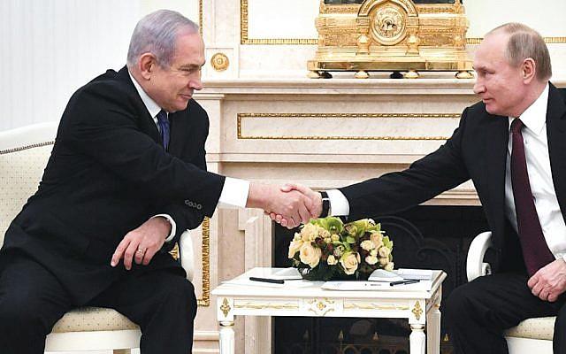 Israeli Prime Minister Benjamin Netanyahu and Russian President Vladimir Putin met last month at the Kremlin. (Haim Zach/GPO)