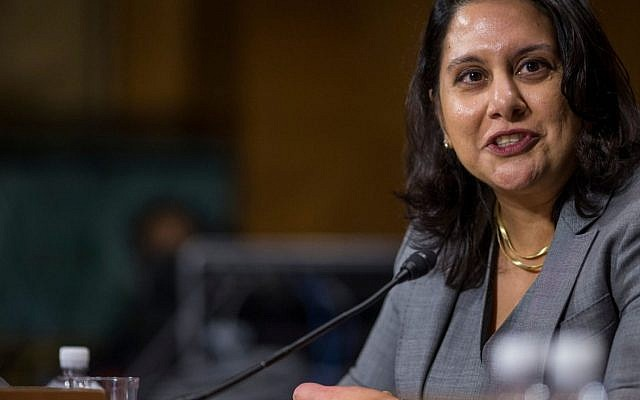 Neomi Rao testifies during a Senate Judiciary confirmation hearing on Capitol Hill, Feb. 5, 2019. (Zach Gibson/Getty Images)