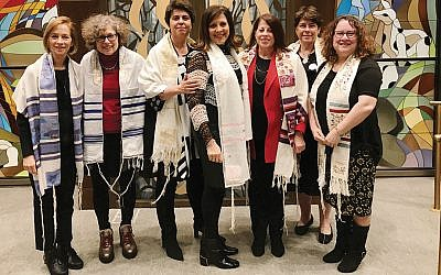 Cantor Nitza Shamah, left, with Barbara Rosenfeld, acting shul president Anne-Marie Bennoun, sisterhood president Franci Steinberg, guest speaker Rabbi Linda Henry Goodman, sisterhood treasurer Hilary Eth, and Annice Benamy, who is sisterhood ritual vice president and also region president of the Women of Reform Judaism Atlantic. (Courtesy TBS)