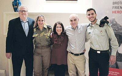 Staff Sergeant Hilla and Major Yehuda join friends of the Israel Defense Forces. (Courtesy of FIDF)