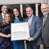 Event chair Tzipora Cohen, BPY board president Daniel Cohen, and Rabbi Saul Zucker, head of school, right, are shown with honorees Liz and Alan Mitrani (Photos courtesy BPY)