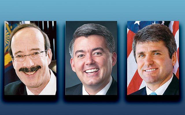 Congressman Eliot Engel (D-NY), left, Senator Cory Gardner (R-CO), and Congressman Michael McCaul (R-TX) (Photos courtesy Norpac)