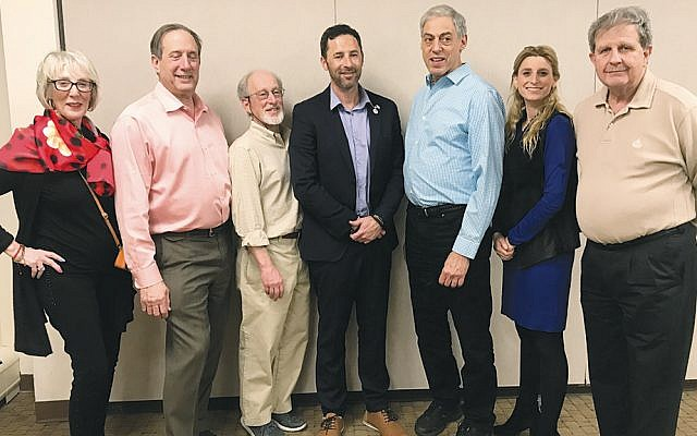 Among the audience at the Jewish Federation of Northern New Jersey's FedTalks, from left, were, Simone Wilker, Richard Schnaittacher, Stanley Goodman, Seth Davis of IsraAID, Larry Silverman, JCRC director Ariella Noveck, and Ron Rosensweig. (Courtesy JFNNJ)