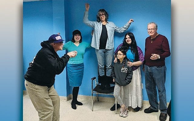 """Rehearsing for the world premiere of Nanuet Hebrew Center's Purim spiel, """"Beauty and the Feast."""""""